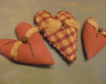 Primitive Fabric Heart Bowl Fillers - 3 Grungy Stuffed Hearts - Primitive Valentine's Day Decor - Maroon & Homespun - Wedding or Anniversary