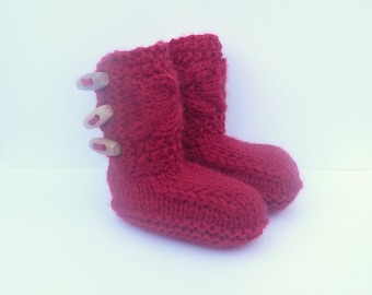 Knitting PATTERN BABY Booties Tiny Toggle Baby Boots - Instant DIGITAL Download Pattern