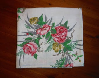 Vintage Floral Barkcloth Fabric - 1950's Flowers Shabby Chic Barkcloth Fabric - 50's Pink Rose Yellow Peonies White 2 Yards Barkcloth Fabric