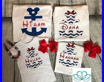 Disney cruise shirt, Mickey and Minnie anchor Anchor ears, family Disney vacation shirts