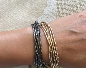 Delicate Five Layered Bracelet - Available in Gold or Sterling. Lovely As A Bridesmaid's Gift.