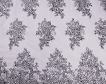 Grey 51''  Adrianna Embroidered Flower with Sequins Scalloped Edge Lace Fabric by the Yard - Style 5003