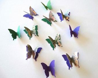 3D Paper Butterflies, garden party butterflies, wall art, butterfly confetti, bridal shower, butterfly theme birthday party, fairy party