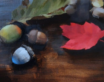 """Archival 5"""" x 7"""" Giclee Print / Acorns and Fall Leaves (no.144) Oil Painting Realism Fall Autumn Still Life Dark"""