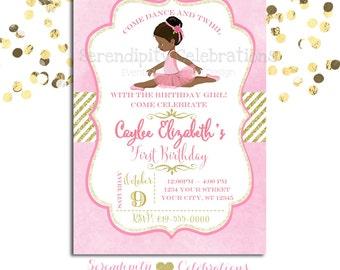 Ballerina Birthday Invitation, Baby Shower Invitation, Birthday Invite, Ballet Recital Invite, Pink Gold Ballerina Ballet, Watercolor Invite
