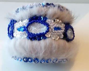 Silver blue grey fur cuff