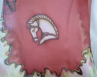scarf silk scarf painted with stylized Celtic horse motif