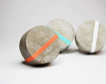NEW! Concrete Round Wall Hook with a thin painted stripe