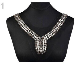 Fashion Neckline Yoke Beaded Stud Tulle Applique