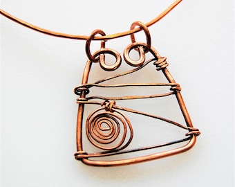 Copper Free Form Wire Wrapped & Fired Pendant