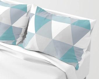 geometric light blue and grey pillow sham