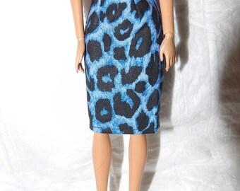 Fashion Doll Coordinates - Blue & black Leopard print skirt - es438