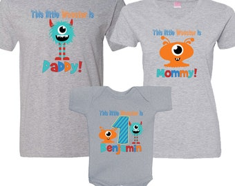 Matching 3 HEATHER Shirt Set - This Little Monster is birthday boy, Daddy and Mommy