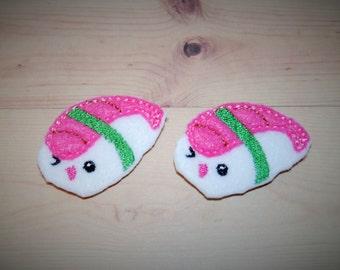 Set of 2 Sushi Feltie Felt Embellishments
