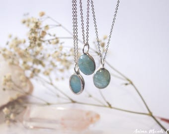 Aquamarine necklace, March birthstone, Aquamarine pendant, Dainty Silver aquamarine jewelry, Unique gift for mother day, Gift for sister