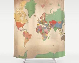 Map Shower Curtain -  Aged look map - travel Decor - travel theme Bathroom - world maps
