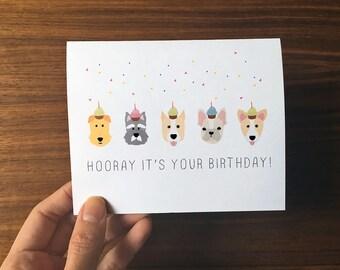 Dog Birthday Card, Cute Birthday Card, Dog Greeting Card, Dog Birthday Cards, Dog Lover Birthday, Birthday Card, Happy Birthday Card
