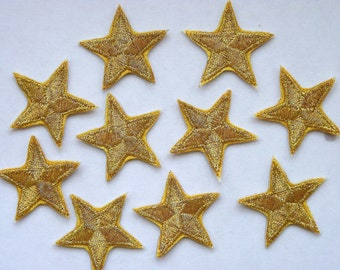 Gold star patches > applique > Pack of 3 or 10 > Iron-on or sew-on > very pretty!