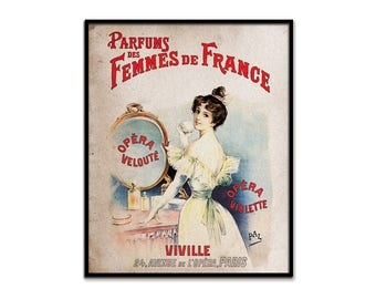 French Perfume Art Giclee Print Cologne Mirror Parfume Ad Shabby Rustic Cottage Chic Wall Decor Provincial Primitive Vintage Style 8 x 10