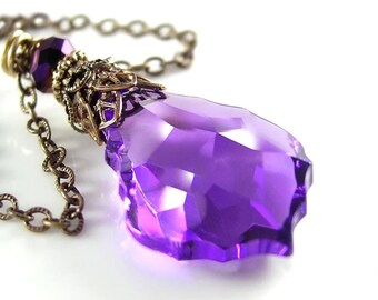 Amethyst Purple Necklace, Swarovski Purple Crystal Necklace, Purple Pendant Necklace, Vintage Victorian Style Antique Gold Brass Necklace