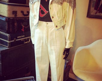 Vintage 80's High Waisted Denim Pants with Jacket