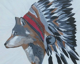 """Leader of the pack ~ Original Acrylic painting on 8"""" x 8"""" canvas"""