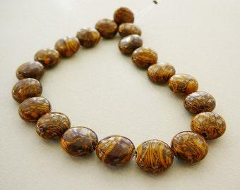 Gemstone Beads, coin, Elephant Skin Jasper