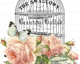 Vintage Music Bird cage Large digital download ECS buy 3 get one free pink roses butterfly printable SVFteam