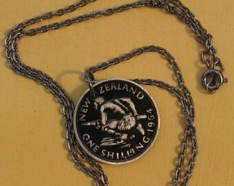 Vintage New Zealand Maori Warrior Kneeing  Black Enamel Pendant on black chain