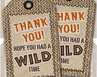 Jungle Safari Adventure Gift Tags, Thank you tags. Favor Tags, Instant Download, Print your own