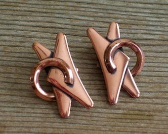 Modernist Earrings, Vintage Renoir Copper Modernist Abstract Clip Earrings, MCM Earrings, Renoir Earrings, Renoir Jewelry