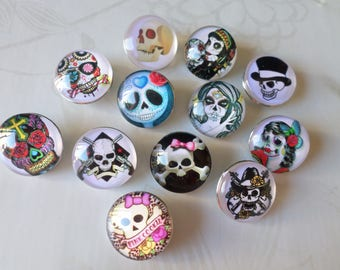 x 12 mixed round snaps pattern No. 18 mm (for jewelry) skull 1