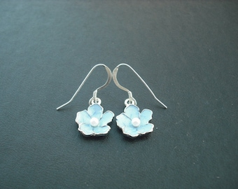 capri blue flower earrings - sterling silver ear wires