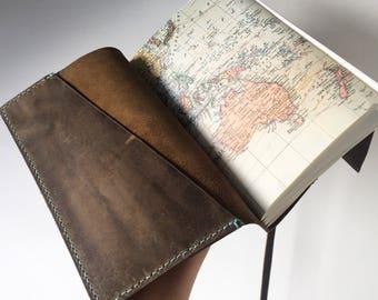 World map journal etsy travel leather gumiabroncs Choice Image