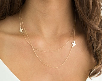 Layered Necklace with Birds / 14k Gold Fill, Sterling Silver or Rose Gold / FLIGHT PATH Necklace, by Layered and Long LN802