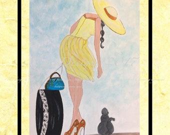 Sunny, Watercolor Fashion Illustration