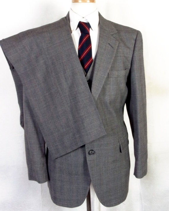 Pc 42 John Glen Gray vtg 100 vested Business Wool Suit Plaid euc 3 R Alexander awOOz