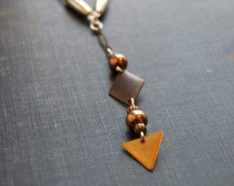 Geometric Metal Necklace Geometric Statement Necklace Sacred Geometry Necklace Weathered Metal Necklace Mixed Metal Jewelry Tribal Style
