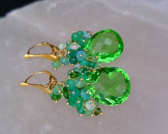 New! Spring Green Quartz With Ethiopian Opal Chrysoprase on Gold Vermeil Leverbacks Mothers Day Gift For Her