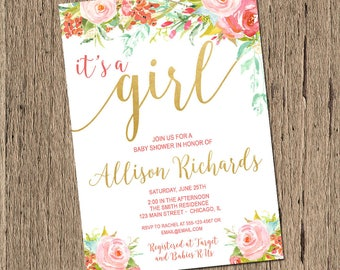 Baby Shower Invitation Girl, Floral Baby Shower Invitation, watercolor flowers, pink and gold, It's a girl, boho Printable Invitation