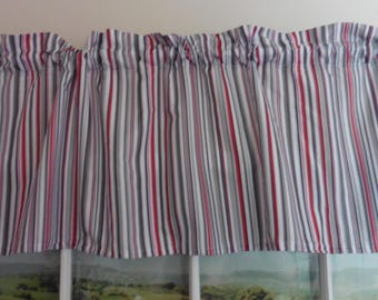 Red, Black and Gray Stripe Valance ~ 52 Inches Wide