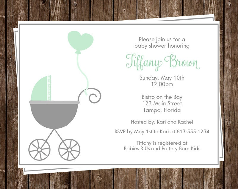 Baby Shower Invitations Mint Gray Carriage Stroller Mint