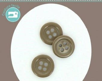 Round button 4 holes, plain color grey taupe diameter 14 mm