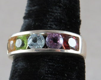 Rainbow Ring Multi Stone Sterling Silver Band Size 8