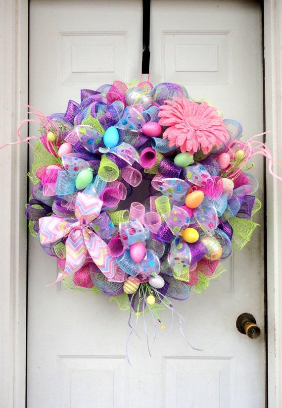 LARGE SPRING Wreath RAZ Easter Wreath Deco Mesh
