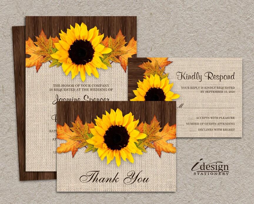 Fall Wedding Invitation Suites Sunflower Wedding Invitations