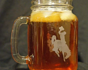 Wyoming Cowboys Mason Jar - Drinking Jar - University of Wyoming - Brought to you by Naptime - UW Cowboys - Personalized Mason Jar