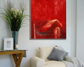 Canvas Painting Red Wall Art, Canvas Wall Art, Figure Art Red Painting, Figure Painting, Figurative Art, Figurative Painting