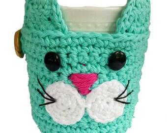 Crochet Cat Mug Cozy, cat mug cozy, cat mug, mug cozy, animal mug cozy, cat coaster, coffee cup cozy, crochet mug cozy, crochet mug warmer