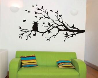 Birds & Cat Tree Wall Sticker Decal, Home Decor, Childrens, Nursery Art, Animal Christmas Gift